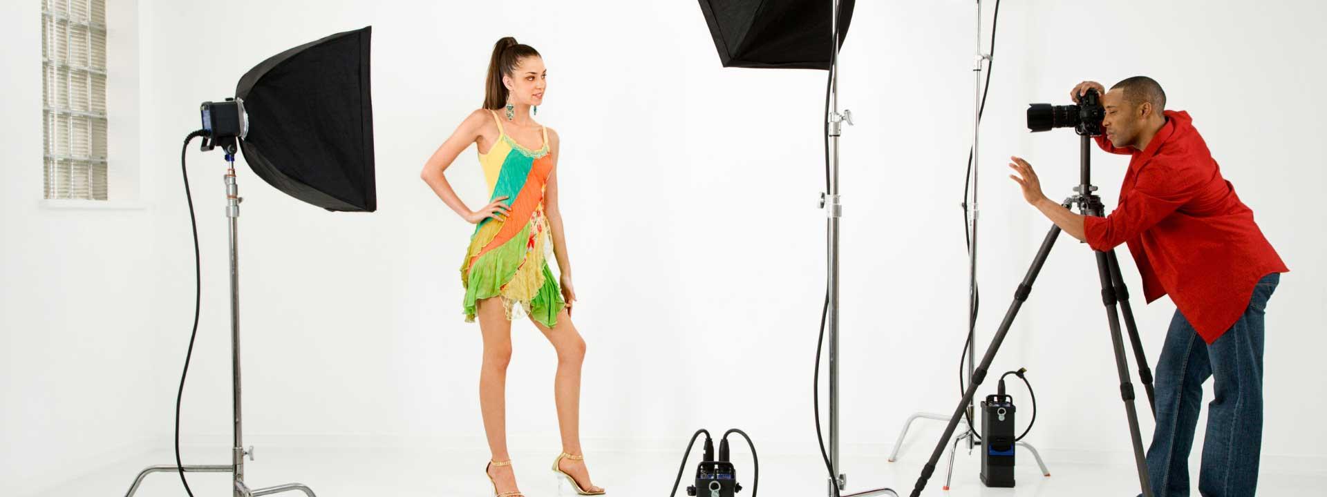 photographer shooting a model